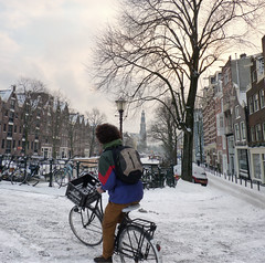Slippery Prinsensluis bridge in Amsterdam (Bn) Tags: winter sunset people snow cold ice church boys dutch amsterdam bike bicycle kids children geotagged canal frozen topf50 downtown iceskating skating joy kinderen freezing first canals age prinsengracht ike mokum grachten slippery pleasure skates oude winters stad harsh keizersgracht jordaan 2012 dusting westertoren ijs gluhwein schaatsen koud pakhuis wester amsterdamse ijspret hendrick chocolademelk prinsenstraat hollandse 50faves prinsensluis gekte winterse sferen avercamp ijzers ijsplezier jordanezen geo:lon=4886353 geo:lat=52378045