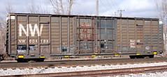 NW#604188 BOXCAR BLACK MILAN,MI 2-18-12 SATURDAY (penn central 74) Tags: nw boxcar norfolkandwestern freightcar milanmi 021812