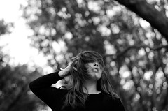(Alana Steinberg) Tags: trees blackandwhite bw white black girl hair sweater bokeh hairography
