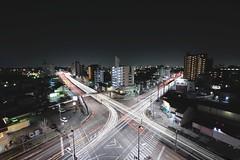 Light trails X-ing (Shin-Nagoya) Tags: longexposure japan lowlight asia crossing x nagoya intersection nightview nightphoto aichi afterdark xing citynight lighttrail lightstream urbannight localstreet carlighttrail nightcityscape afsnikkor1424mmf28g