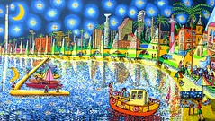 starry night on tel aviv telaviv after van gogh guch              (naiveartist) Tags: art night israel telaviv artwork artist gallery tel aviv von  exhibition galleries exhibitions artists stadt painter after rafael van naive gogh raphael der  starry painters israeli peretz   artworks perez rafi kaufen malerei            guch