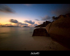 End of a Great Day (SIsifo73) Tags: longexposure travel sunset seascape beach nature palms landscape nikon rocks paradise waves smooth boulders granite seychelles hoya deepblue ladigue movingclouds nd400 ansesourcedargent d700 mygearandme mygearandmepremium mygearandmebronze dblringexcellence tplringexcellence sisifo73 sisifo73photography