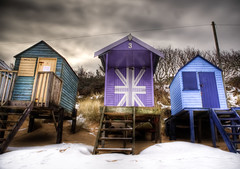 Rule Of Thirds (visions101) Tags: uk winter sea holiday snow seascape english beach canon landscape coast town seaside norfolk wells windmills next huts coastal lee nd british 28 filters grad 70200 2470 5dmkii
