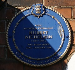Photo of Hubert Nicholson blue plaque