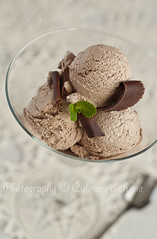 Choclate & champagne ice cream (vanilllaph) Tags: food cold ice yellow ball menu recipe table dessert frozen eating chocolate cream mint tasty spoon towel fresh gourmet delicious eat homemade freeze summertime copyspace culinary scoop prepare crumb decorated