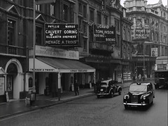 Shaftesbury Avenue, London WC2, 1962 (euronomad) Tags: uk england london geotagged screenshot streetscene retro 1960s 1962 shaftesburyavenue lyrictheatre blackcab globetheatre londonbus londontransport londontaxi petershaffer wc2 tvseries route19 theatreland thesaint apollotheatre rogermoore route14 boeingboeing londontheatres