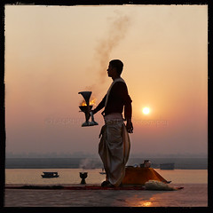 Feeling Dawn (designldg) Tags: people sun india man water mystery sunrise river square dawn boat colours faith religion atmosphere soul varanasi ritual priest spirituality shiva devotee hindu dharma hinduism kashi backlighting ganga ganges benares benaras uttarpradesh worshiper gangaaarti  indiasong