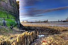 New Ferry Shore (Shertila Tony) Tags: england water skyline clouds river boats sand rocks europe day cloudy britain shore tidal hdr wirral merseyside tranmere rivermersey oilterminal yahooweather newferry viewhdr flickraward mygearandme mygearandmepremium skydayweather