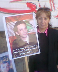 Tarek Rabaa's mother in front of the court (sherihane) Tags: lebanon news protest mother intelligence torture alfa trial  indictment     militarycourt  specialtribunalforlebanon tarekrabaa