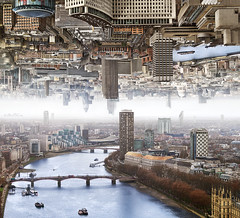 London - Double Landscape (Ben Heine) Tags: life old city bridge houses windows light england panorama streets reflection london art cars tourism fog composite thames arch