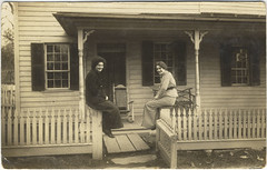 Two women on porch (Rita~~~was here) Tags: vintage women amy buttons mctavish thanksmyfriend alovelygift