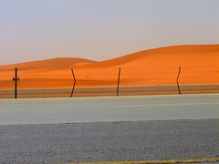 desert road (zbigphotography) Tags: road sky fence landscape desert middleeast saudiarabia sanddunes canong12 flickrstruereflection1 remembertha