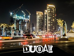 (SGCampos) Tags: street building architecture night contrast lights construction dubai fuji darkness united uae east emirates fujifilm middle arabs x10 skycreeper sgcampos sgcam