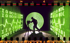 Digital analog (quornflake) Tags: longexposure urban lightpainting man green film night tunnel lighttrails trippy