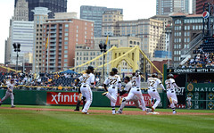 Andrew McCutchen (Carlo Prati Photography) Tags: baseball running sequence pncpark mlb pittsburghpirates firstbase carlopratiphotography