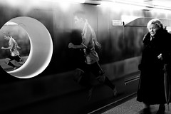 Euro is coming (Marta Rybicka) Tags: street bw station sport underground football poland move warsaw footballplayer blackwhitephotos