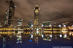 Glassy reflections of Crown Casino (garethjl) Tags: street bridge rain clouds reflections river aquarium place towers australia melbourne victoria casino queens yarra vic crown cbd flinders freshwater southbanks