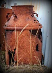 No more milk (Sol Brimars) Tags: old macro metal iceland spring decay rusty weathered cracked sland 2012 ecu oxidized milkchurn vatnsleysustrnd corruglatediron