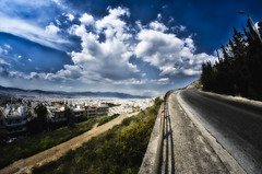 Parallel Universe (Kostas Petropoulos Images) Tags: road city light sky sun nature clouds contrast photoshop fence wonderful landscape interestingness interesting nikon europe suicide perspective athens fisheye explore greece attica syntagma attiki paralleluniverse beautifulphoto explored amazingimage d5100 samyang8mm nikond5100