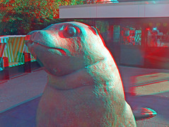 3D red/cyan Anaglyph - Hansapark, Seelwe Statue (3D - red/cyan) Tags: statue stereoscopic 3d skulptur anaglyph seelwe vergngungspark hansapark freizeitpark redcyan sierksdorf finepixreal3dw1 fujifilmfinepixreal3dw1