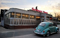 Shawmut Diner, New Bedford, Mass. (63vwdriver) Tags: new car vw vintage bug volkswagen bedford neon steel massachusetts jerry beetle diner company dining mass stainless 1953 1963 omahony shawmut