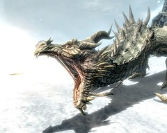 2012-04-19_00006 - Paarthurnax (tend2it) Tags: world game beautiful fire pc screenshot dragon view shot character xbox battle v rpg elder throat breathing scrolls ps3 skyrim tesv