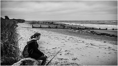 The Apprentice , 4 . (wayman2011) Tags: uk people bw beach mono coast seaside seascapes northumberland alnmouth canon5d lightroom wayman2011