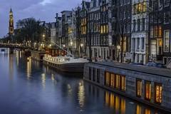 9 PM (karinavera) Tags: street longexposure travel clock netherlands amsterdam boat canals urbanexploration nikond5300