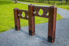 Wooden Stocks (Serendigity) Tags: ireland castle wooden ruins norman stocks trim countymeath