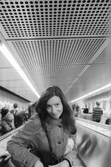 last sunday (John Soqquadro) Tags: vienna wien portrait people stairs underground austria blackwhite europe metro sister streetphotography ubahn mysister