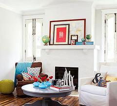 Living Room Fireplace w/ Maps & Globes (Heath & the B.L.T. boys) Tags: sticks globe fireplace map livingroom pillow coffeetable clipboard