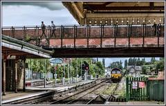 The Steely Two-Step (david.hayes77) Tags: wrexham wales 66117 class66 shed wrexhamgeneral steel 6m86 2016 freight croesnewyddnorthforksignalbox croesnewydd signalbox moldroad wateryroad pedestrians tsbg gwr dbs ews