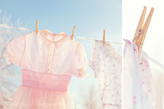 Winter Fresh (Kimberly Chorney) Tags: pink winter sunlight frost bluesky clothesline dippy littlegirldress vintagepinkdress