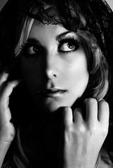 Inquietud (NROmil) Tags: portrait woman blanco contraluz ana mujer retrato negro young bn bella mirada velo belleza ternura sensibilidad suavidad inquietud