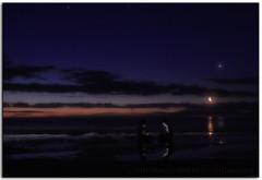 BFF (Bugalugsrox) Tags: ocean life blue girls friends sea summer sky moon reflection beach night clouds stars sand warm glow venus tide horizon teenagers australia calm adelaide quarter serene hesperus tranquil silversands bff balmy eveningstar fleurieupeninsula aldinga