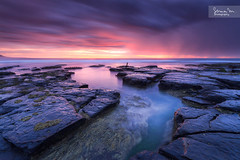 Little Austinmer | Small Channel (SoniaMphotography) Tags: pink blue sea seascape reflection water sunrise canon dawn coast rocks south australia nsw 7d channel illawarra littleaustinmer