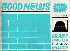 Top half of Good News by Dustin Williams (fotoflow / Oscar Arriola) Tags: usa zine news color art illustration america paper print design us newspaper artwork screenprint aqua comic williams good united letters screen american comix dustin states lettering printed newsprint