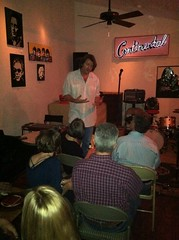 "Bruce visiting with Kickstarter supporters at the Continental Club Gallery show. • <a style=""font-size:0.8em;"" href=""http://www.flickr.com/photos/77590487@N06/6803597854/"" target=""_blank"">View on Flickr</a>"
