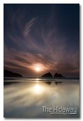Holywell sunset (Simon Bone Photography) Tags: sea sky cloud sun reflection beach silhouette sand cornwall cornishcoast canon1740mmlf4 cornishsunsets wwwthehidawaycouk canoneos7d hitechnd09reversegrad