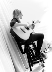 A glass of wine and several guitars (photocillin) Tags: glass zoe wine gig singer mead stool capo guitarist