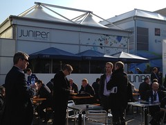 Just outside the Juniper booth (junipernetworks) Tags: world mobile security it congress networking juniper routers cio switching mwc informationsystems professionalservices netscreen junipernetworks mobilesecurity mobileworldcongress networkingsecurity routingsoftware routinghardware trustedmobility networkingsystems