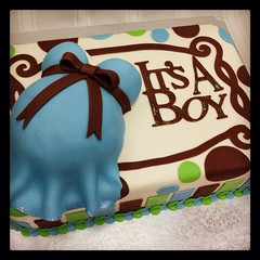 It's a boy in the belly cake (sweetpeachcakes) Tags: blue baby brown white cake glitter shower blu chocolate stripes icing sho fondant sheetcake cricut