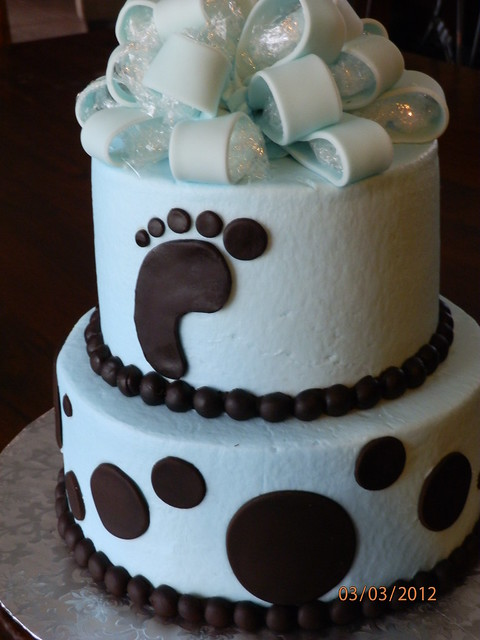 Brown and Light Blue Baby Shower