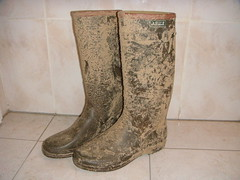 Very dirty Aigle boots (WelliesWalker) Tags: mud boots dirty wellies muddy bottes aigle boue