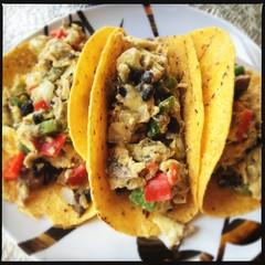 Breakfast Tacos (swanksalot) Tags: chicago mushroom cheese eggs onion blackbeans bellpepper iphone jalapeo redbellpepper corntortillas