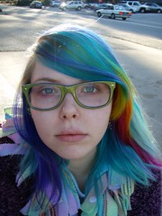 *__* (Megan is me...) Tags: pink original red portrait cute green apple colors girl smile fashion yellow self hair happy photography grey glasses spring amazing cool rainbow eyes colorful neon pretty ray colours russell mckay bright turquoise unique oneofakind ooak awesome flamingo meg gray violet plum megan style smiley kawaii poppy jerome mandarin colored dye multicolored ban punky dyed brightyellow flamingopink megface rainbowoutfit rainbowclothes meganisme meganyourface