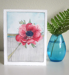 sunday (michele_maule) Tags: flower watercolor painting drawing anemone floralart fucshia watercoloronpaper anemoneart