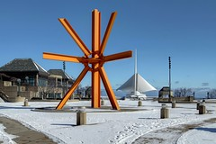 The State of the Snow, Milwaukee, February 11th, 12:12 pm (johndecember) Tags: park winter sculpture usa snow art museum wisconsin downtown gallery afternoon album sunny milwaukeeartmuseum milwaukee february mam disuvero hdr lakefront 2012 mke fused wisconsinavenue thecalling photomatixpro photoscape canonef1635mmf28liiusm odonnellpark kaesemann cirplfilter fusedhdr kaesemanncirplfilter