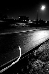 (Steini789) Tags: road street light bw white black night iron bent roadside