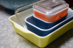 Fridgies (LuluBelle.) Tags: blue red yellow pyrex fridgies